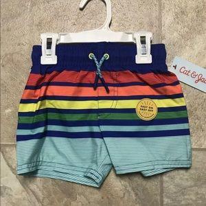 Size 18 months boys blue stripe swim trunks new
